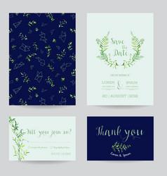 wedding invitation floral templates set vector image