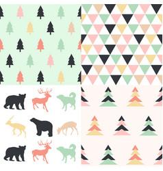 Winter christmas seamless patterns vector