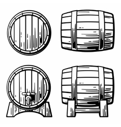 Wooden barrel set engraving vector image