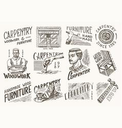 wooden labels set for workshop or signboards vector image