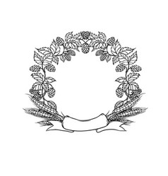 Wreath circle frame from ribbon hops and ear vector