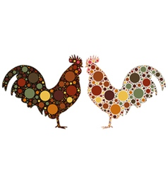 dotted rooster vector image vector image