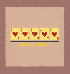 Flat shading style icon royal flush vector