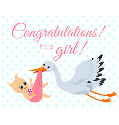 greeting card with stork vector image vector image