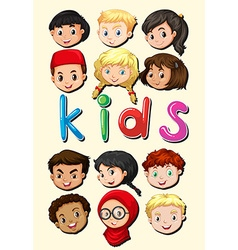 Little kids from around the world vector image