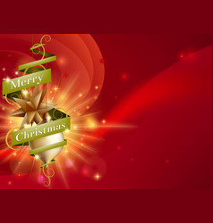 merry christmas red ribbon background vector image