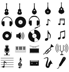 music set black icon on white vector image