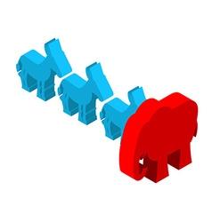 Red Elephants against blue donkey Symbols of USA vector image