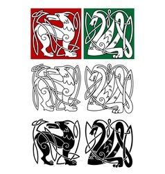 Abstract animals in celtic style vector image vector image
