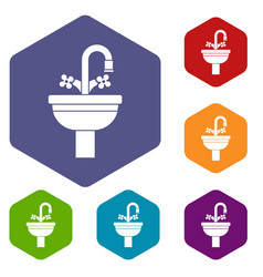 ceramic sink icons set vector image