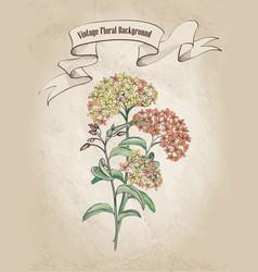 Floral background flower bouquet cover retro vector