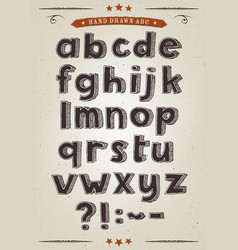 hand drawn alphabet set vector image