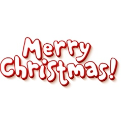 Red and white cartoon style Merry Christmas vector image vector image