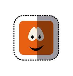 sticker square colorful shape emoticon smile vector image vector image