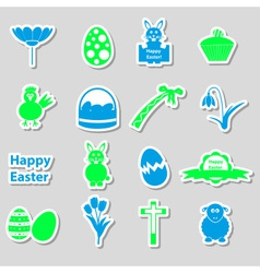 Various color easter stickers set with shadow vector