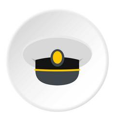 white nautical hat icon circle vector image