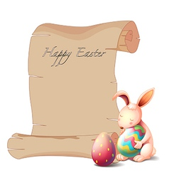 A bunny with two Easter eggs vector image vector image