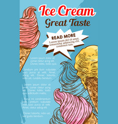 ice cream cone dessert retro sketch poster vector image