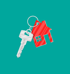 metal key with keychain house vector image