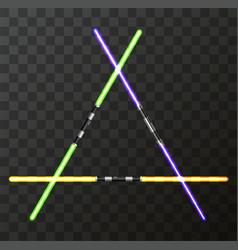 modern light swords on transparent vector image