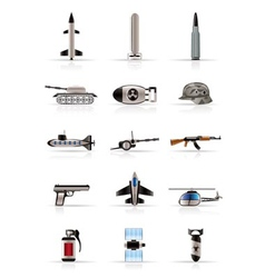 Realistic weapon and war icons vector