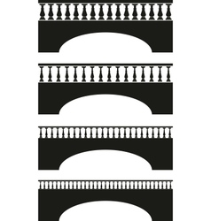 set of ancient stone bridge black silhouettes vector image vector image