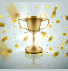 3d golden cup with falling confetti on white vector image
