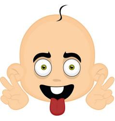 a babys face cartoon vector image