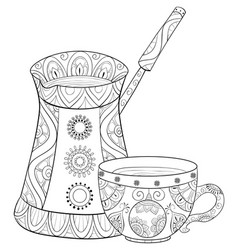 adult coloring bookpage a cute kettle with cup of vector image