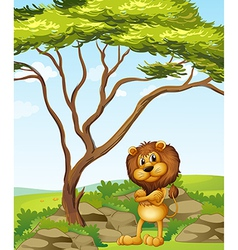 An angry lion beside a tree vector