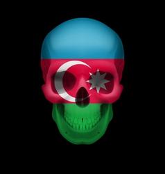 Azerbaijanian flag skull vector