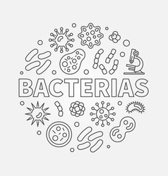 Bacterias round concept line vector