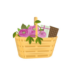 Beautiful gift wicker basket with flowers gifts vector