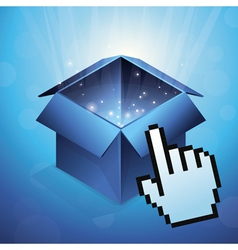 blue box with glowing light and hand cursor vector image