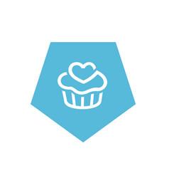 blue cupcake icon pentagon shape icon design vector image