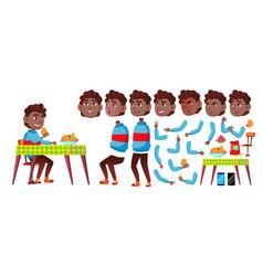 boy schoolboy kid black afro american vector image