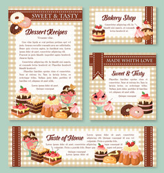Cake and bakery shop banner with pastry desserts vector