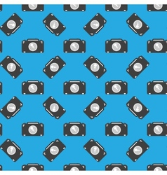 Camera sign seamless pattern on blue background vector image