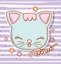 cat head animal with hair and stars vector image