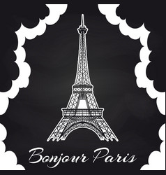 chalkboard paris poster with eiffel tower vector image