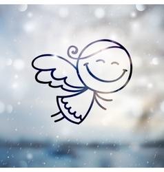 christmas angel on blurred backround vector image
