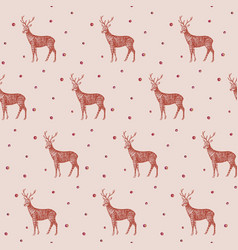 christmas pattern seamless deer vector image