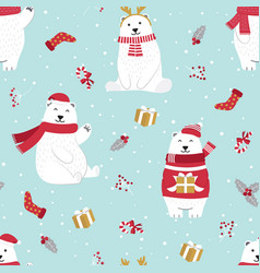 Christmas seamless pattern with polar bear vector