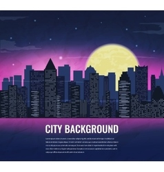City landscape at night in moonlight vector