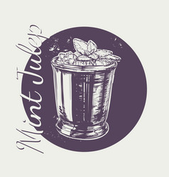 Cocktail mint julep for the derby hand drawing vector