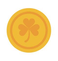coin of gold clover or shamrock saint patricks day vector image