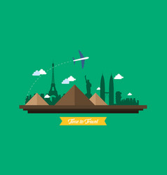 Collection of travel on the world background vector