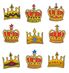 collection red crown style doodles vector image