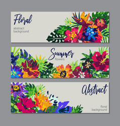 collection tropical plants and flowers vector image