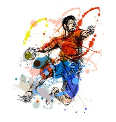 Colored hand sketch handball player vector image